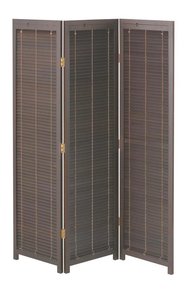 幕部はブラインドのように開閉可能です 蝶番は片側に180°回転可能です 衝立3連 JP-LB3 ブラウン45×2.5×H172cm×3 折り畳み ※大型家具扱送料別途見積となります 衝立 パーテーション ついたて 障子風 屏風 最安値挑戦 折りたたみ 和風 タイムセール 間仕切り
