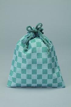 市松柄巾着内側ビニール付1ケース500枚入21×26cmブルー