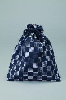 市松柄巾着内側ビニール付1ケース500枚入21×26cmダークブルー