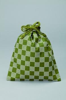 市松柄巾着内側ビニール付1ケース500枚入21×26cmグリーン