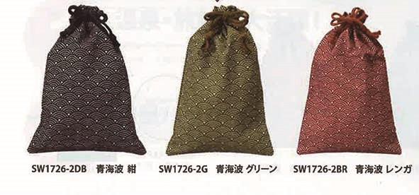 和風巾着 青海波(小)17×26cm内側ビニール付1ケース500枚入3色ご用意しました