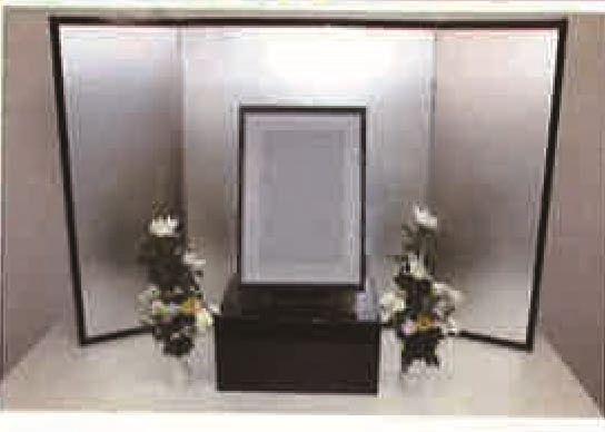 法事セット(※大型家具扱送料別途見積となります)屏風:H90×134cm(70×32×32) 鏡面仕上台:H30×W40×D30 青磁花瓶:2本