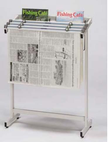 新聞架W60×33.5×H83.5cm (ラック内寸法)56×4 ねじ式 5本付 ラック付※画像は3本付ですがこちらのは商品は5本付となります