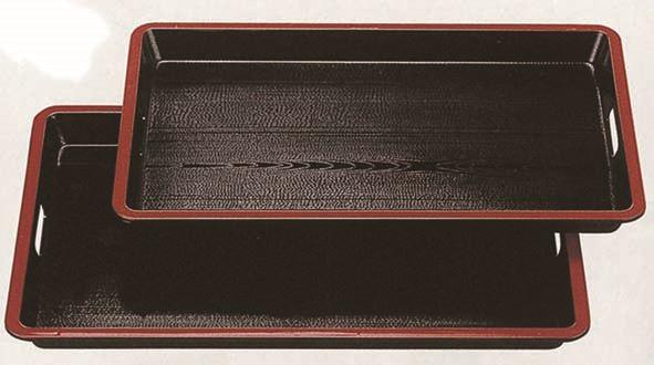 収納OK しかも割れにくいデザインです A 中 ランキングTOP5 隅丸脇取盆 新黒木目天朱 激安卸販売新品 尺9寸 ※ノンスリップ加工 W57.5×D36.3×H4cm