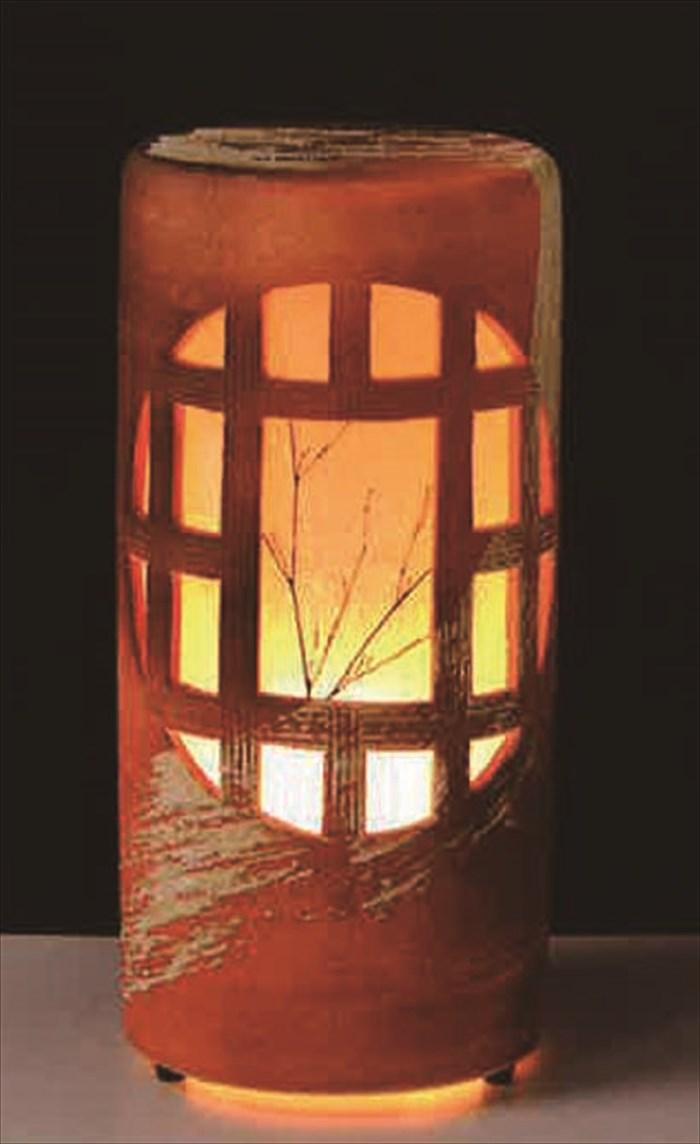 夕月夜燈ガーデンライト 屋外ライト 和風ライト あかり やきもの防水ライト 陶器 しがらき 庭園灯