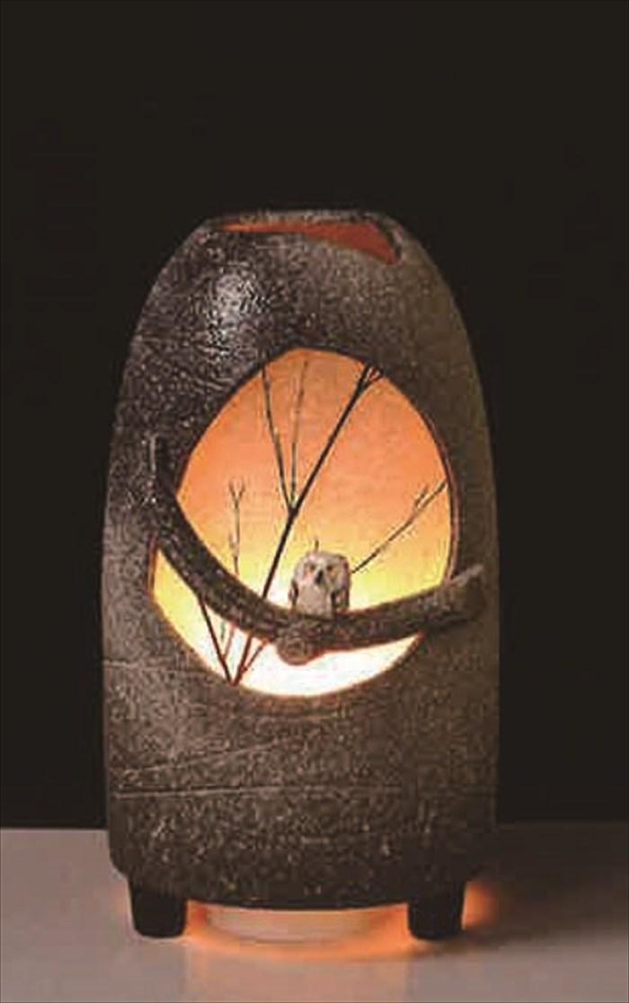 月のふくろうガーデンライト 屋外ライト 和風ライト あかり やきもの防水ライト 陶器 しがらき 庭園灯