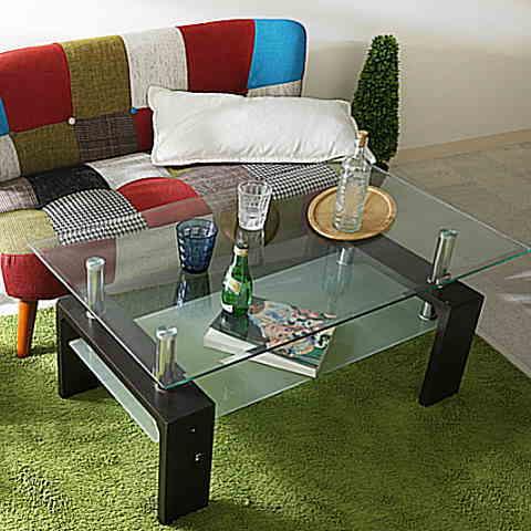 おしゃれなガラスセンターテーブル リビングテーブル