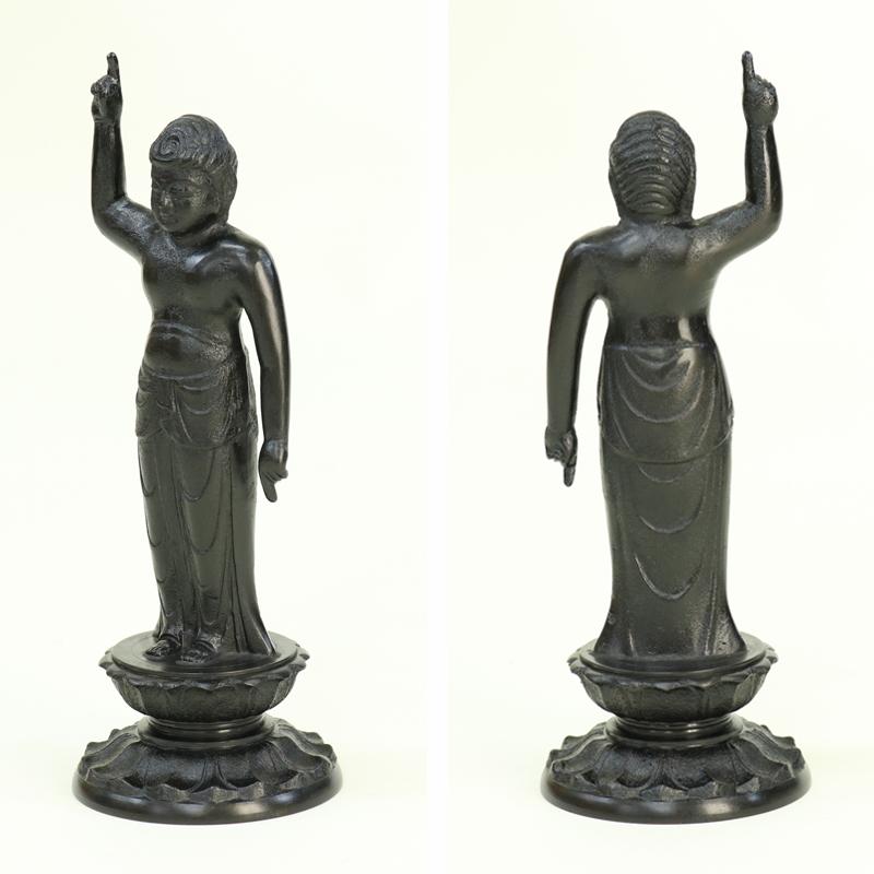 寺院用仏具 「誕生仏 6寸」 高さ18cm  花御堂用 はなみどう 金属 お釈迦様 はなまつり 花祭り仏具 灌佛盤 灌仏会 お釈迦さま像 あす楽