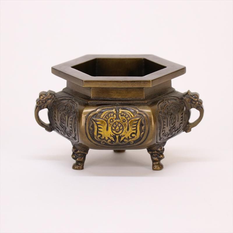 【エントリーでポイント10倍】六角 机上香炉銅器仏具 高さ7.5cm