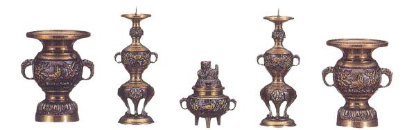 【五具足】 ダイキャスト 花鳥模様 黒光色 3.5寸/仏具 高級仏具 仏壇仏具 仏具セット