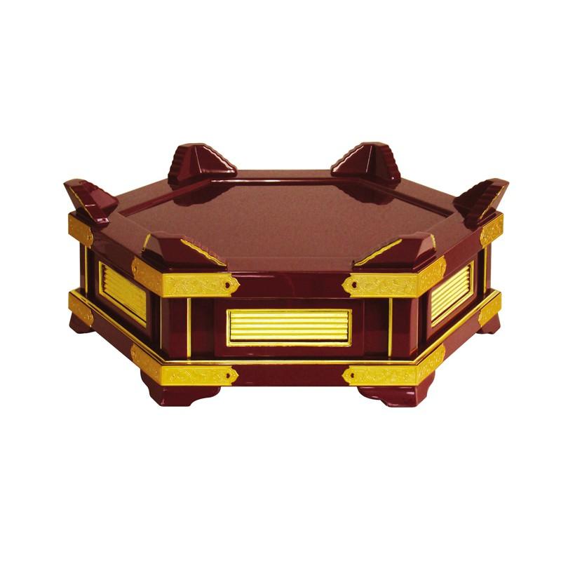 小足付背短杢魚台 朱塗面金箔押 1尺3寸 金具付 (3955-1300)