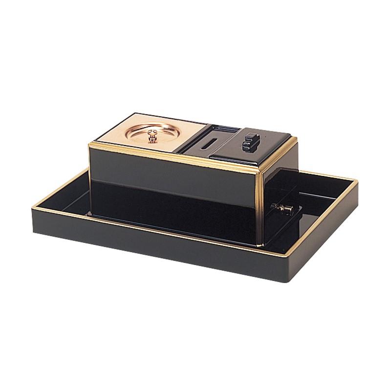 賽銭入付廻し香炉セット オトシ蓋付 黒塗渕金 日本製 (2502-0100)