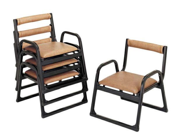 【アルミ製】 本堂椅子【肘付き・背付きタイプ 小寸】5脚セット本堂椅子 黒色 寺用 寺院用 和室設備 お座敷用チェア