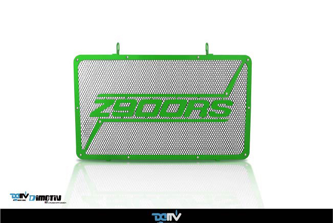 DIMOTIV di-rpc7-ka-26 3Dラジエーターカバー Z900RS (網チタン色+フレームグリーン色、受注生産品)