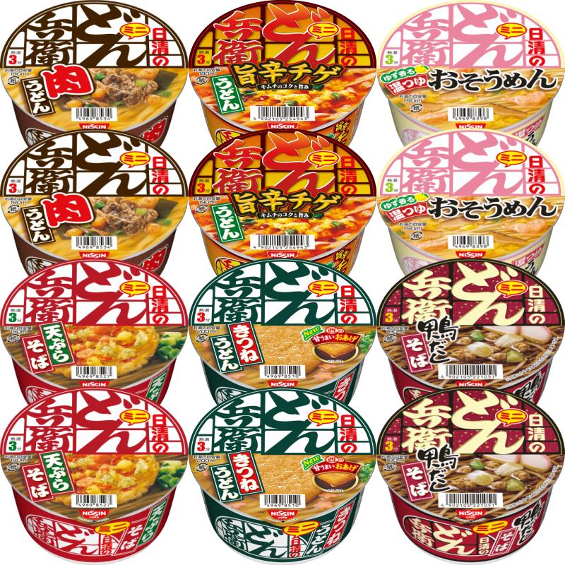 日清 どん兵衛 ミニ きつねうどん 天ぷらそば 肉うどん 鴨だしそば 6種×2個 温そうめん 迅速な対応で商品をお届け致します 12個セット 評価 旨辛チゲうどん
