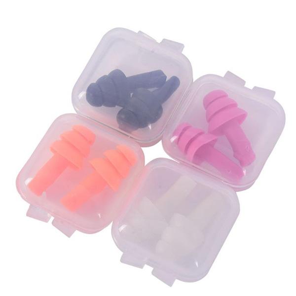 3段フリンジシリコン耳栓【ケース付き】同色両耳セット【※お得品、カラー選べません メール便のみ送料無料】※4種類のカラーのうち、1セット(両耳)が入ります。代引き・ニッセン後払いできません※商品は両耳(ケース1個)です。