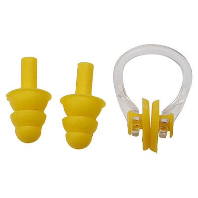 水泳 鼻栓と耳栓のセット 黄 お得【メール便のみ送料無料】 イエローノーズクリップ+イヤープラグ 鼻クリップと耳栓セットプール、水泳学習、アクアビクスダイビングでの使用はできません。※代引き・ニッセン後払いできません