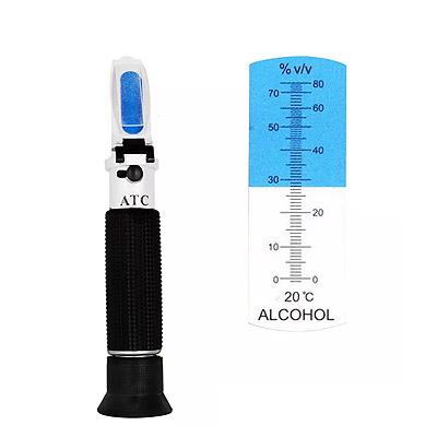 アルコール計 v/v 0-80%【送料無料】ATC(温度自動補正機能)内蔵 ハンディタイプアルコール濃度測定 アルコール含有量計 屈折計電池不要 電源不要 英語表記※沖縄・九州・北海道・離島は送料別