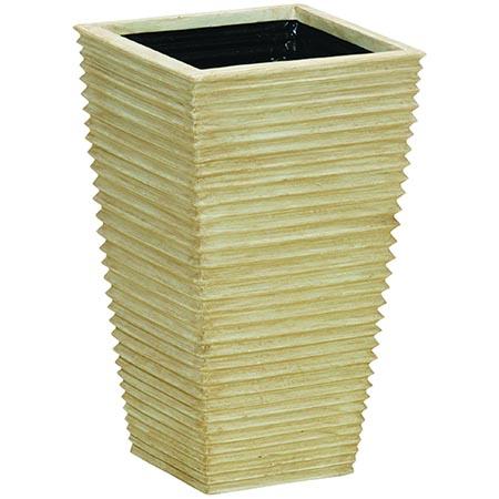 【送料無料!】大和プラスチック ウェーブ 39型 アイボリー陶器の質感を再現した、スタイリッシュなスクエアプランター