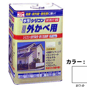 【送料無料!】ニッペ 水性シリコン外かべ用16kg 01ホワイトシリコン樹脂により、耐汚染性・耐久性抜群。