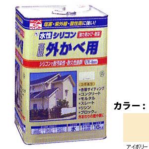 【送料無料!】ニッペ 水性シリコン外かべ用16kg 03アイボリーシリコン樹脂により、耐汚染性・耐久性抜群。