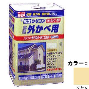 【送料無料!】ニッペ 水性シリコン外かべ用16kg 04クリームシリコン樹脂により、耐汚染性・耐久性抜群。