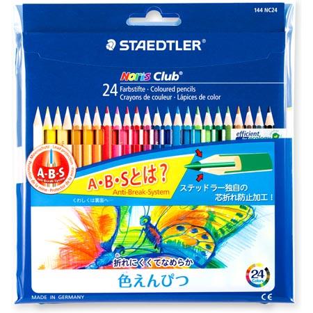 文具館 メール便 海外 ステッドラー ノリスクラブ 色鉛筆 売店 144 NC24P折れにくく 滑らかな書き味の色鉛筆 24色セット