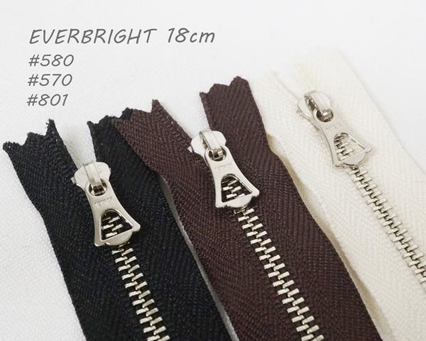 マーケティング 国内正規品 18cm EVERBRIGHT エバーブライト YKK シルバー色 ファスナー DFWF