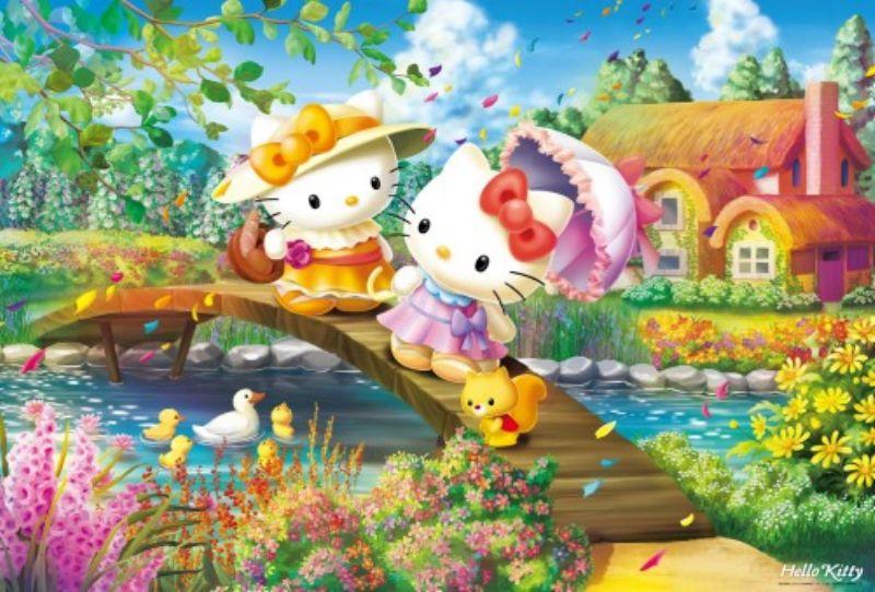 【引上品】1000ピースジグソーパズル ハローキティの花咲くコテージ 《廃番商品》