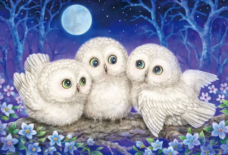 1000ピースジグソーパズル 森のささやき ~Owl Triplets~(原井加代美)