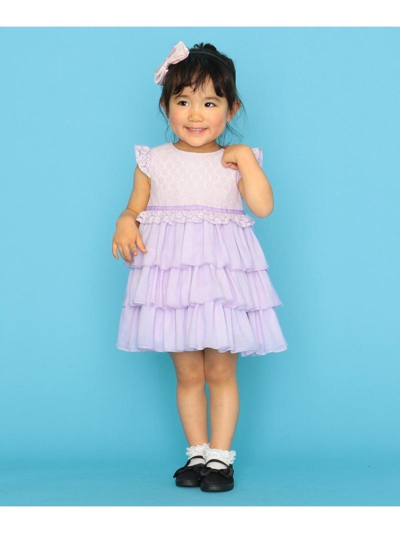 組曲 キッズ ワンピース クミキョク KIDS Rakuten Fashion SALE サークルティアードワンピース 半袖ワンピース 《週末限定タイムセール》 RBA_E 80-100cm 50%OFF 奉呈 パープル ピンク 送料無料