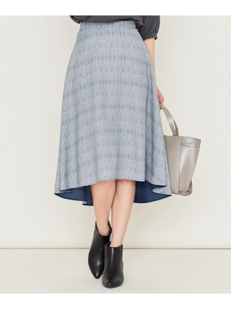 組曲 レディース スカート クミキョク SALE 60%OFF 洗える リバーチェックプリントスカート 大人気 Fashion 送料無料 オレンジ Rakuten RBA_E 贈呈 ネイビー スカートその他