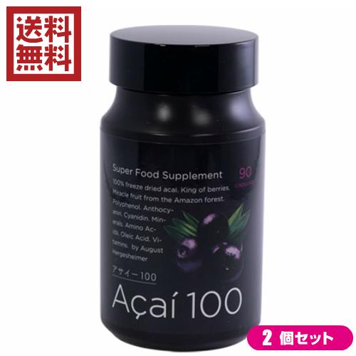 お得な2個セット アサイー100 90粒 ブルーベリーの約4.6倍ものアントシアニン配合