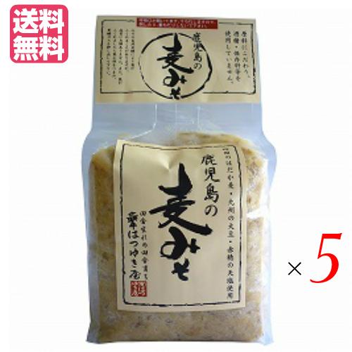 送料無料 国産 鹿児島 超安い 麦味噌 九州 鹿児島の麦みそ はつゆき屋 無添加 5個セット 絶品 1kg