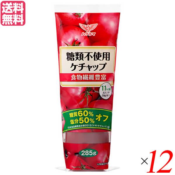 ケチャップ 糖質オフ ローカーボ ハグルマ 激安 新色 糖類不使用ケチャップ 糖質制限 炭水化物 塩分オフ 送料無料 食物繊維 285g 12本セット デキストリン トマト