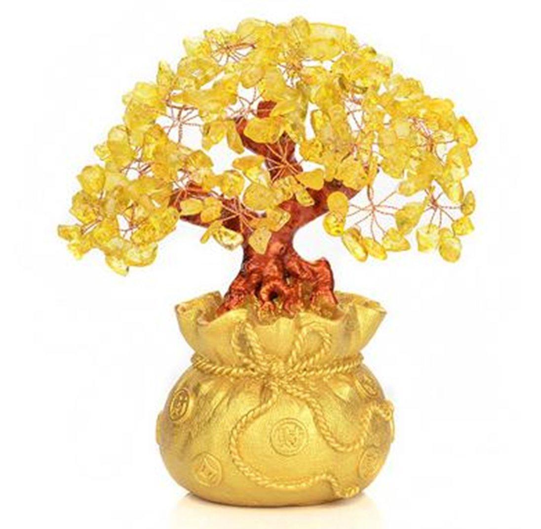招財樹 金のなる木 樹脂 シトリン 黄 水晶 商売 繁盛 招財 金運 風水 中 黄水晶 ついに再販開始 財布 開運 供え 飾り物 アイテム 財 縁起物 送料無料 ゴールド tno-b75