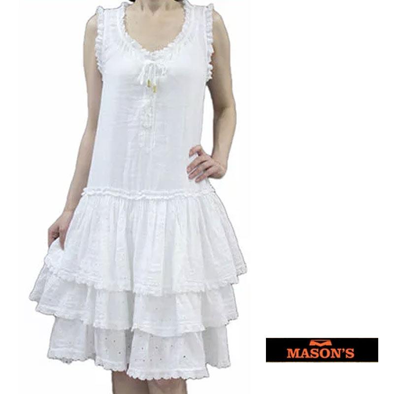 【送料無料】 MASON'S メイソンズ ノースリーブ ワンピース レース カットレース ティアード ホワイト(白) SIZE:38(7~9号)/40(9~11号) (masons_d01)