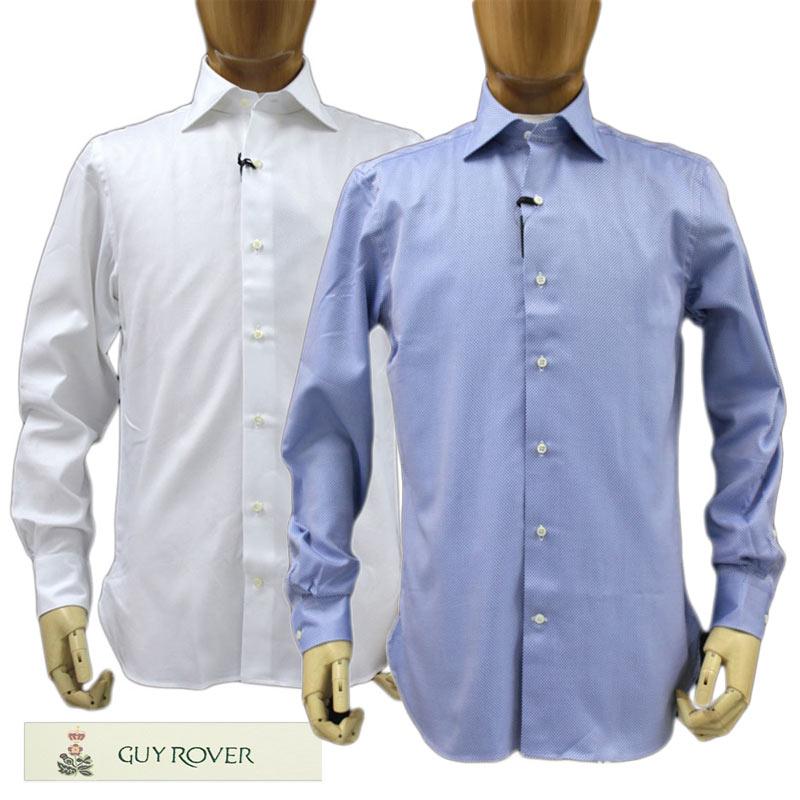【送料無料】 【50%オフセール!】GUY ROVER GUYROVERギローバー長そでシャツコットン(綿)100% 織り柄ブルー(青)/ホワイト(白)ネックサイズ:37/39(guy_m05)