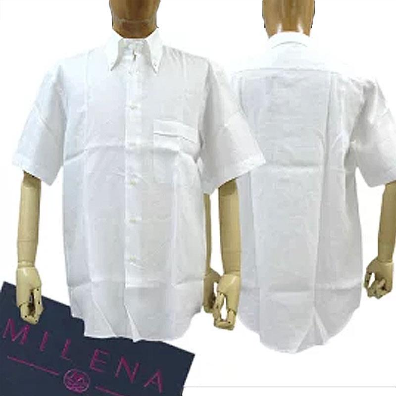 Milena Milena men's short-sleeved shirt linen (linen) 100% white (white) SIZE:39/43