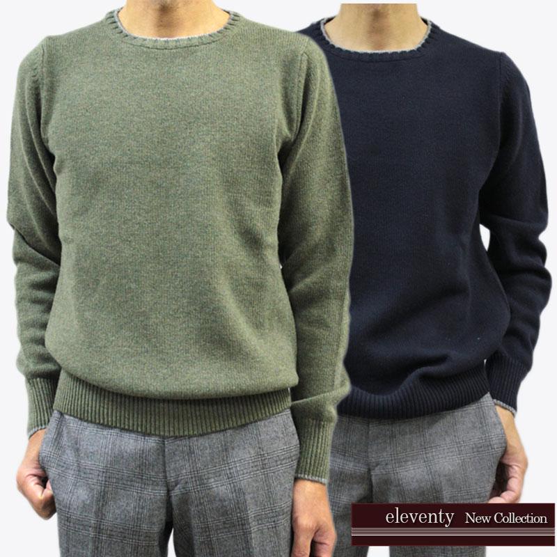 【50%オフセール!】 イレブンティー eleventy イレブンティ メンズ ニット セーター クルーネック エルボーパッチ グリーン(緑)/ネイビー(紺) SIZE:M/L (eleventy_551202)