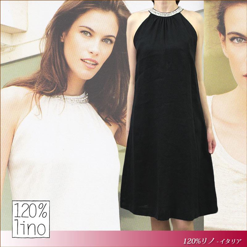 120%lino 120 %lino 吊带一件亚麻麻 120 %lino 黑色 (黑色) 大小︰ 40 (7-9) / 42 (9-11) (120lino_d050205)