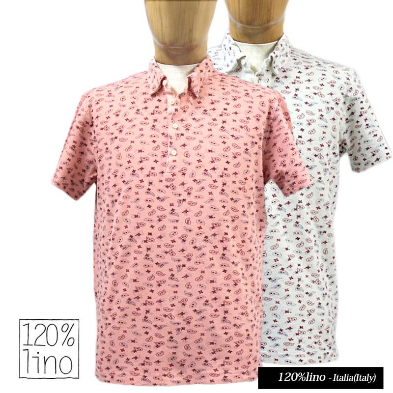 【送料無料】 120%lino 120%リノ メンズ 半そで ポロシャツ ペイズリー 鹿の子 ピンク/ホワイト(白) SIZE:S/M/L(120lino_u050202) 【smtb-k】【kb】