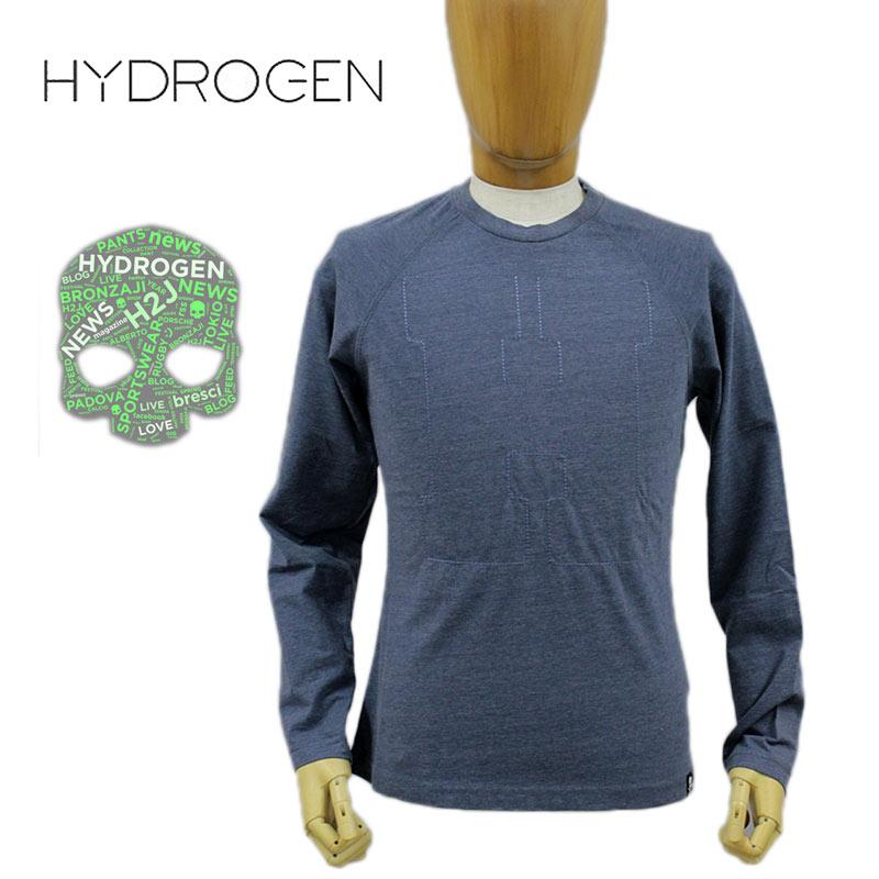 【30%オフセール!】 HYDROGEN ハイドロゲン LEON雑誌掲載 国内正規店(正規品)メンズ クルーネック Tシャツ ロンT 長そで コットン 綿 ブルー SIZE:S/M/L (hydrogen_161201)