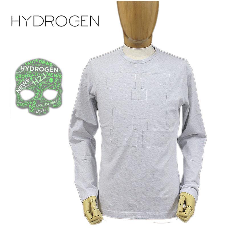 【送料無料】【30%オフセール!】HYDROGEN ハイドロゲン LEON雑誌掲載 国内正規店(正規品)メンズ クルーネック Tシャツ ロンT 長そで コットン 綿 ライトグレー SIZE:S/M/L (hydrogen_161208)