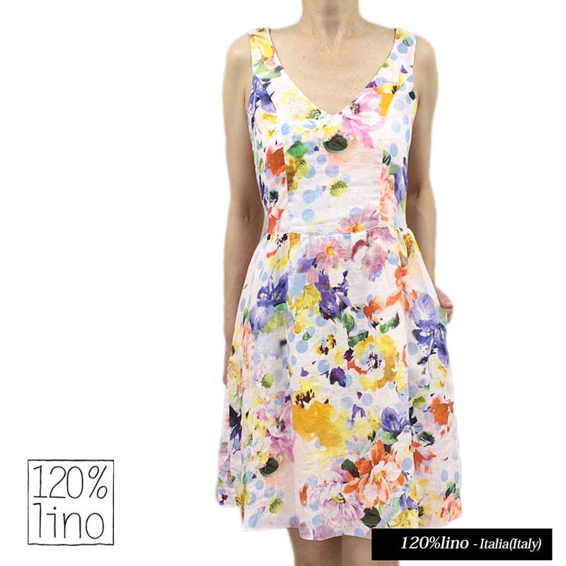 988a83e6de 120 %lino 120% Reno V neck sleeveless dress flower print linen hemp  one-piece SIZE 38 (No. 7) and 40 (7-9) WHITE (120lino 070210)