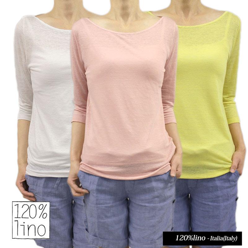 【送料無料】120%lino 120%リノ ボートネック Tシャツ 七分そで リネン 麻 カットソー SIZE:S/M WHITE/ROSE/BRIGHT LEMON (120lino_070205) 【smtb-k】【kb】