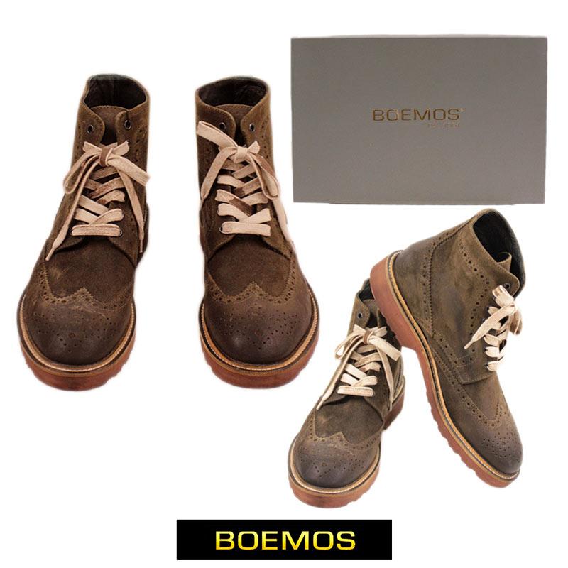 【送料無料】ボエモス BOEMOS メンズ シューズ 靴 ブーツ ウィングチップ スエード レザー カーキ/ブラウン サイズ:40/41 (boemos-4270204)【smtb-k】【kb】