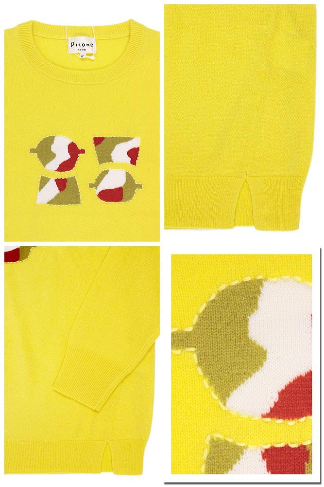 Picone PICONE 俱乐部女装针织毛衣羊绒羊绒套衫圆领黄色 (黄色) 大小︰ 1 (号 M/9) (pico_w16aw32c)