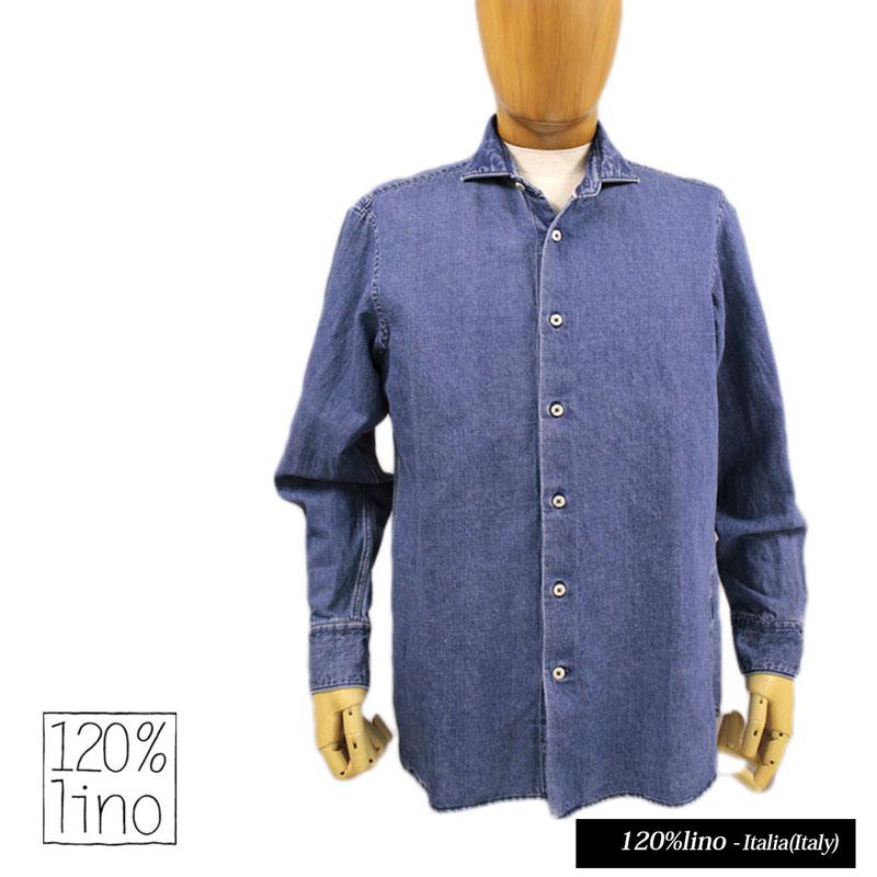 【送料無料】 120%lino 120%リノ メンズ シャツ ダンガリーシャツ デニムシャツ リネン 麻 コットン 綿 長そで インディゴ ブルー SIZE:S (120lino_u080201) 【smtb-k】【kb】