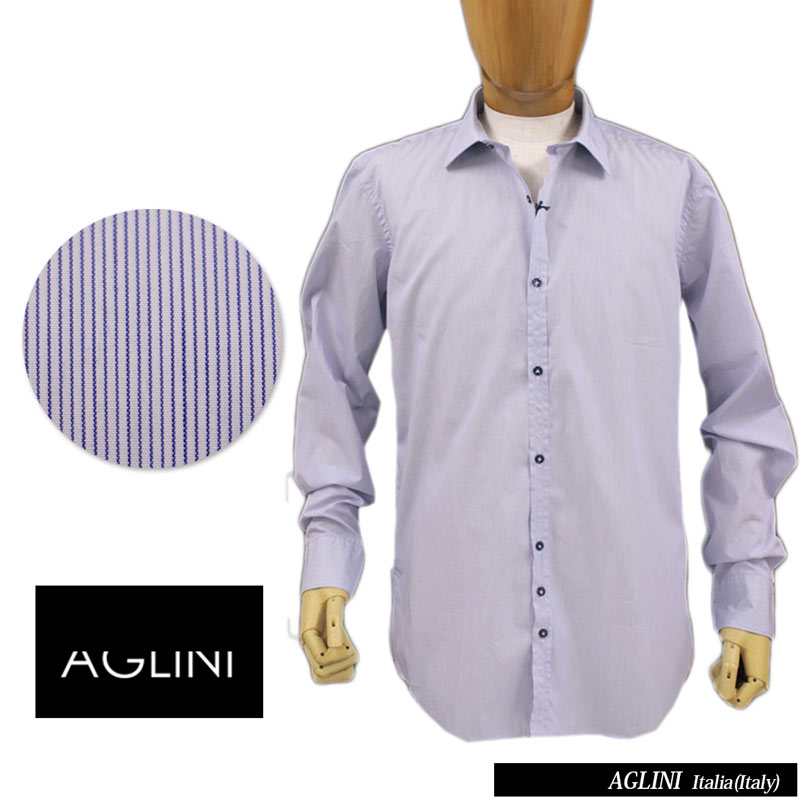 【送料無料】 AGLINI アリーニ メンズ シャツ ストライプ ワイシャツ ドレスシャツ カジュアルシャツ ワイドカラー コットン 綿 ブルー SIZE:39/40/41/42 (aglini-5980207) 【smtb-k】【kb】